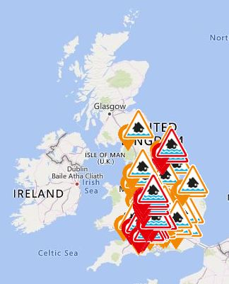 Flood warnings map