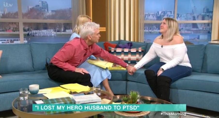 Phillip Schofield comforts wife of soldier who took his own life as she breaks down on This Morning