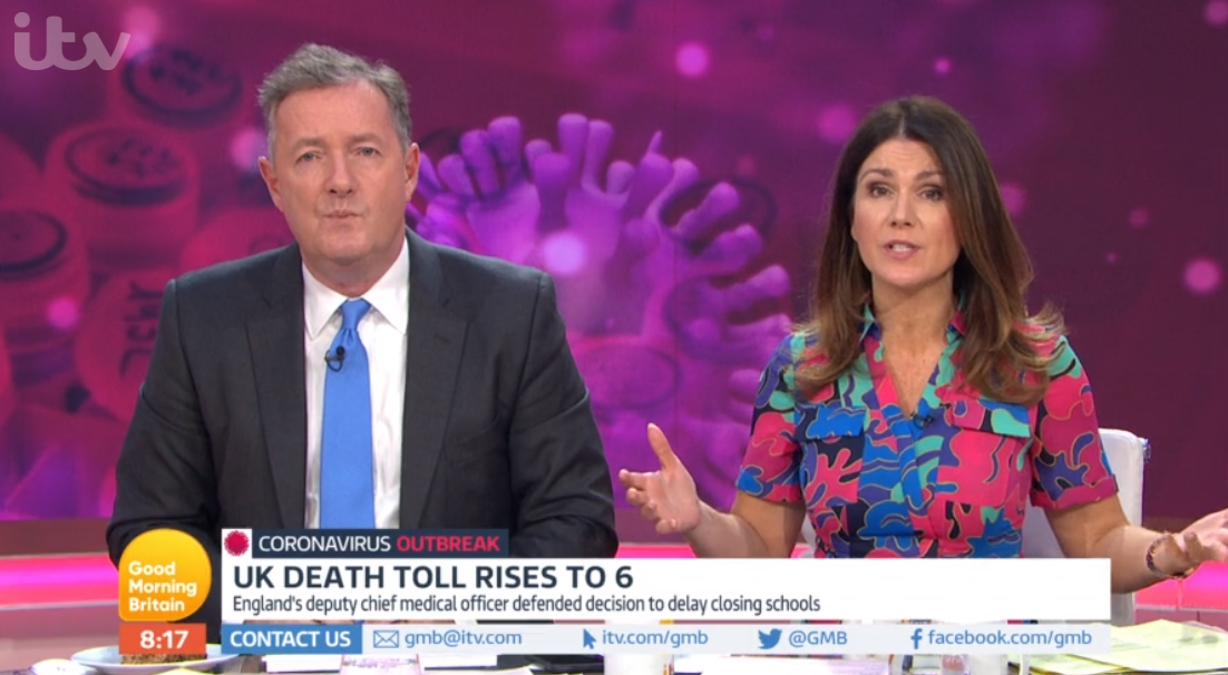 Piers Morgan, Susanna Reid on Good Morning Britain