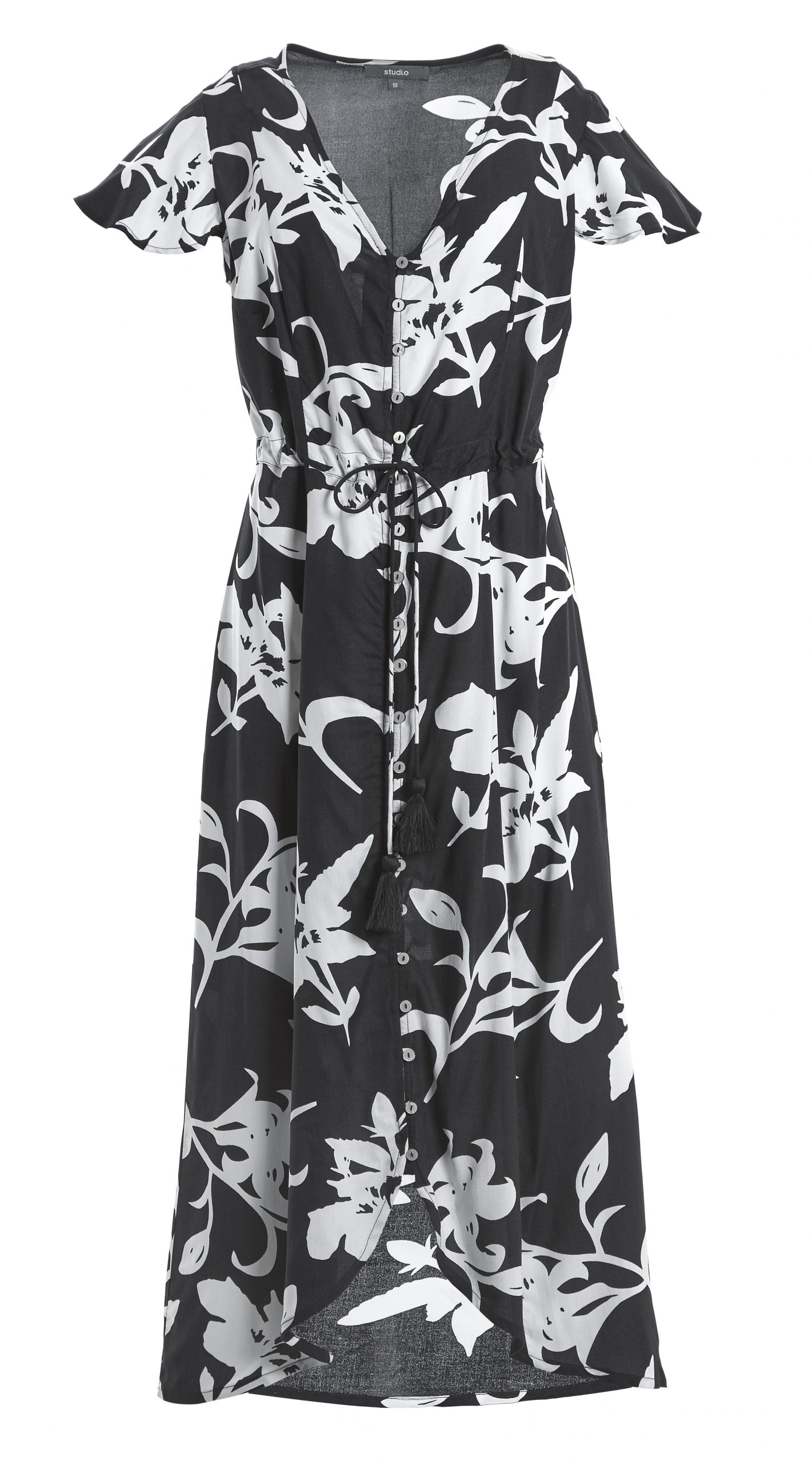 Studio Cap Sleeve Tea Dress Floral Black and White £15