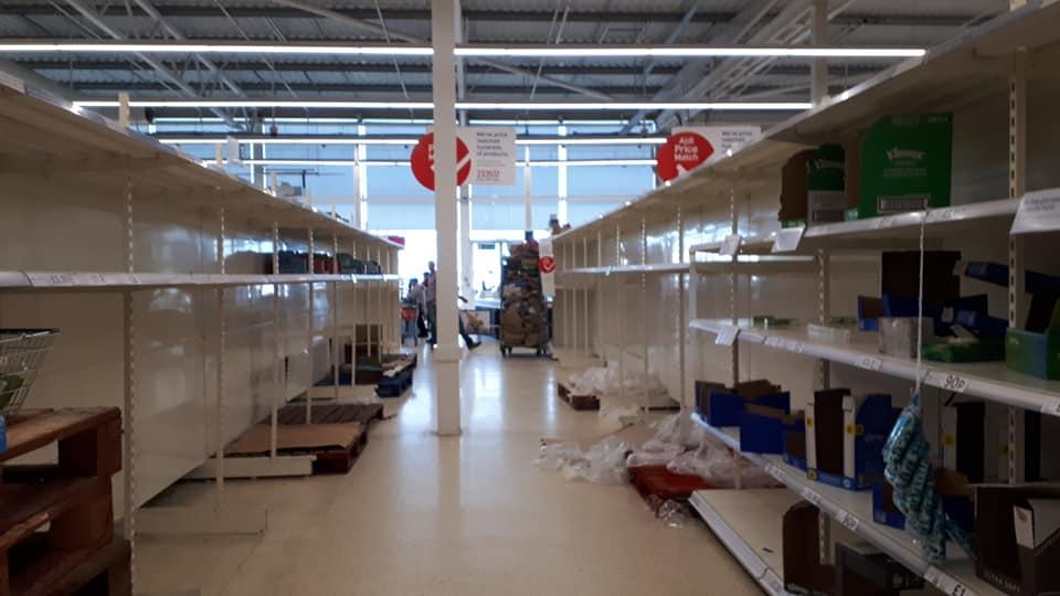 coronavirus empty shelves supermarket