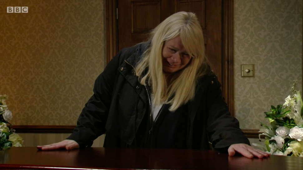 Sharon Mitchell says goodbye to Dennis in EastEnders