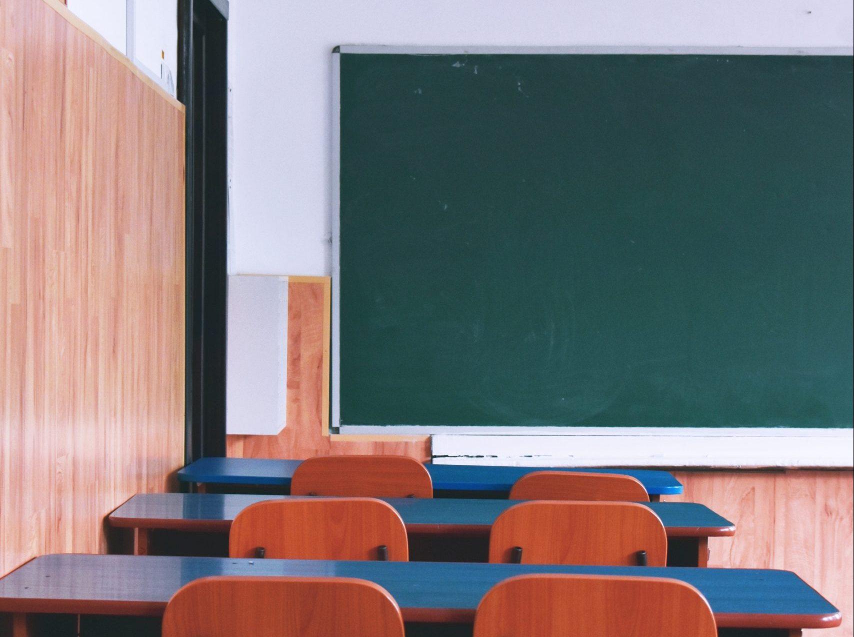 Empty classroom. UK schools have been closed until further notice