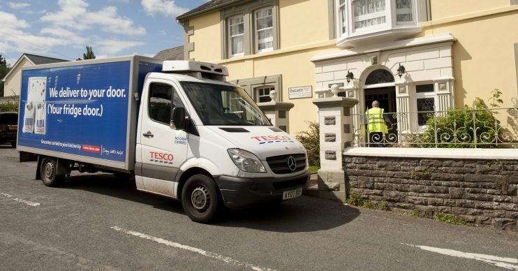 Tesco delivery van. Customers are having to wait three weeks for online deliveries
