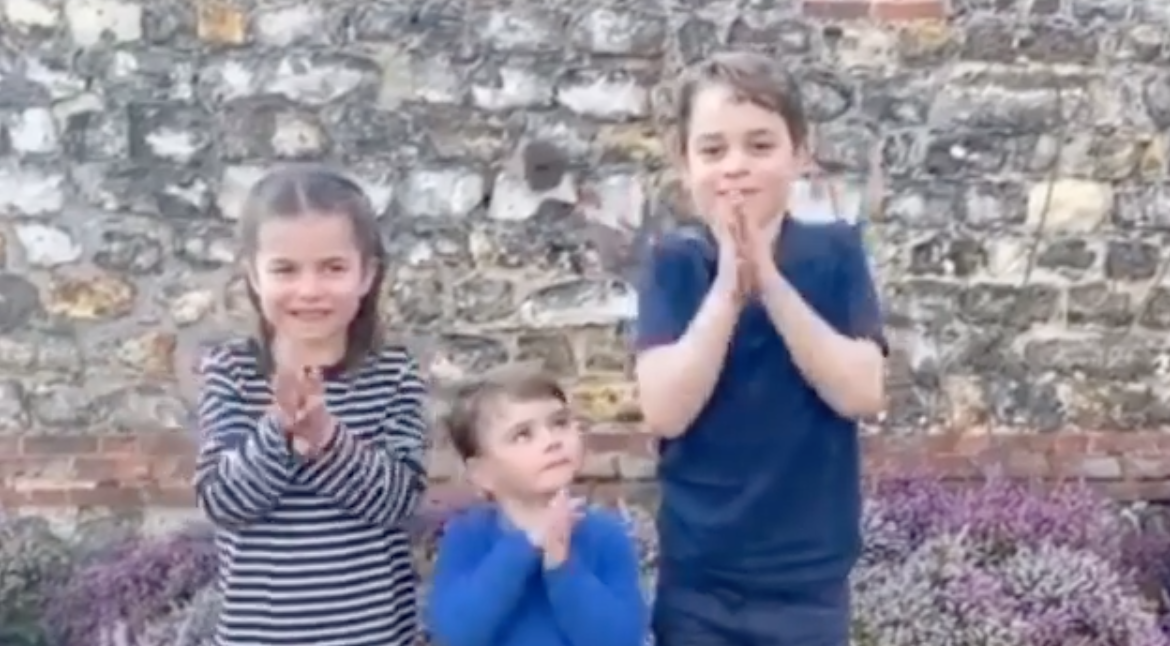 Coronavirus: Princes George and Louis and Princess Charlotte clap for our NHS and carers