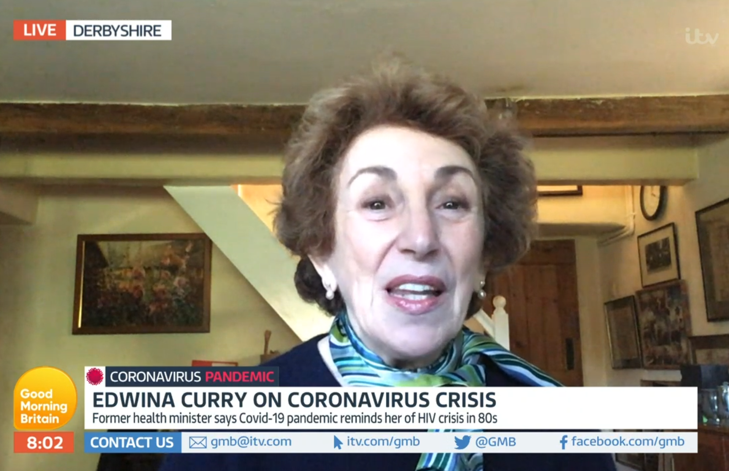 Edwina Currie shocks GMB hosts as half-dressed man is spotted in her living room