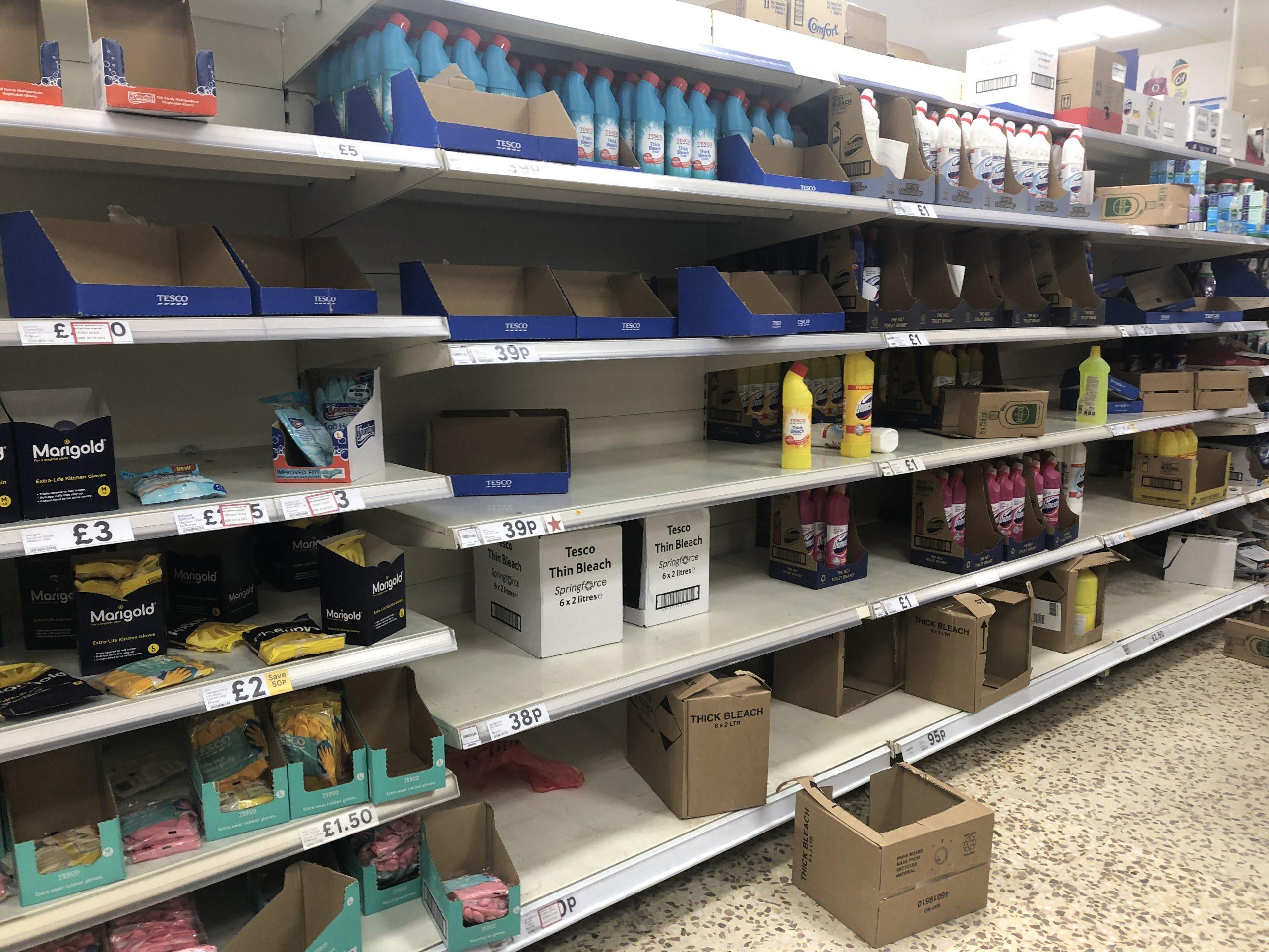 Shelves at a Tesco shop during the coronavirus pandemic