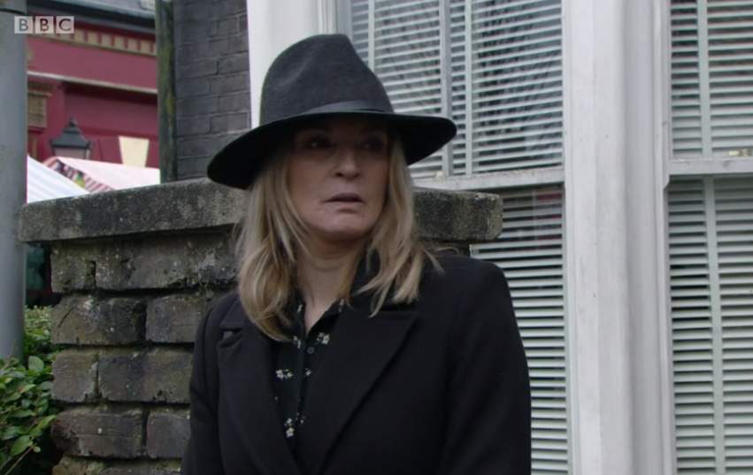 EastEnders viewers distracted by Kathy Beale's hat at Dennis's funeral