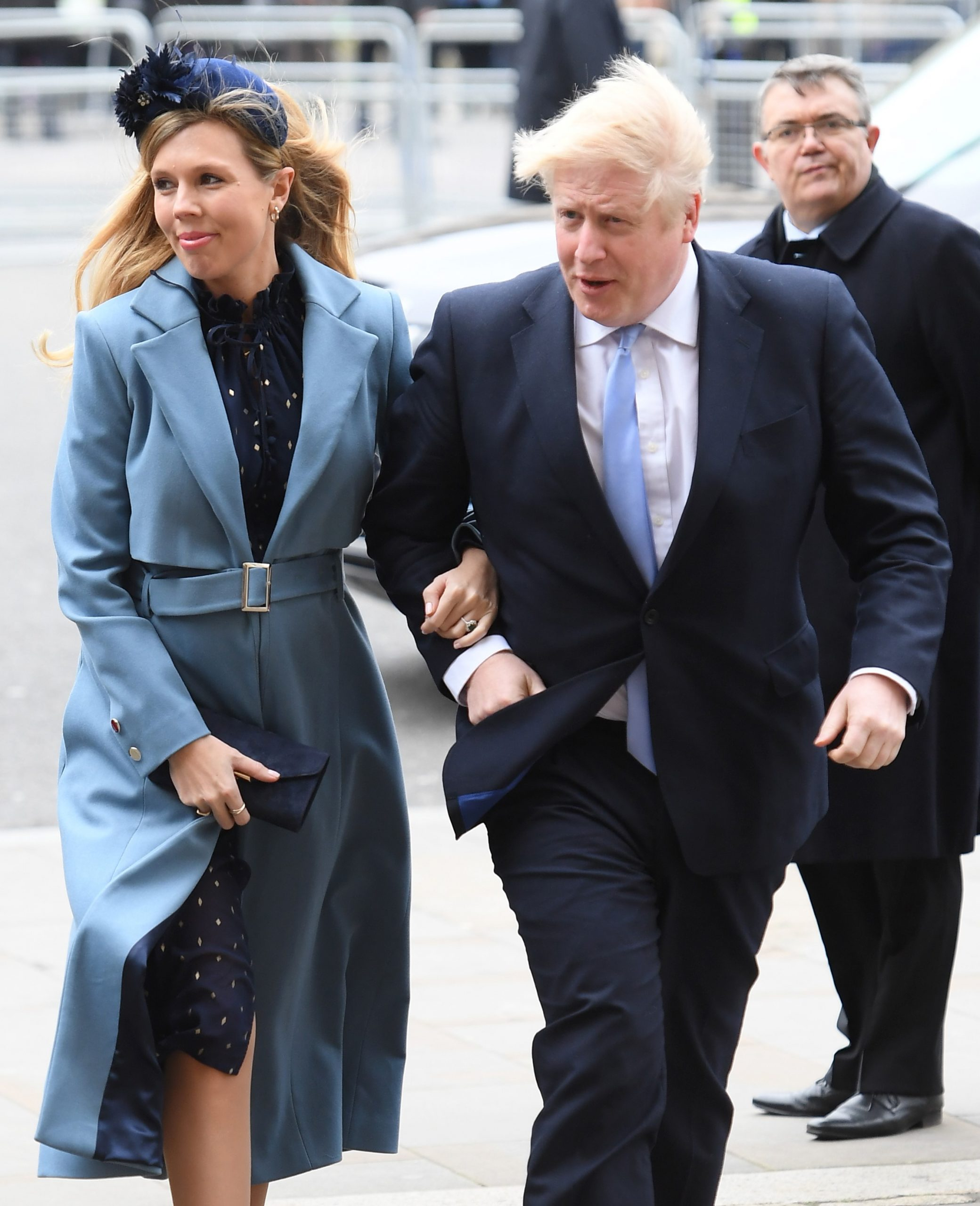 Boris Johnson And Carrie Symonds Arrive At Westminster Abbey For Commonwealth 2020 Celebrations