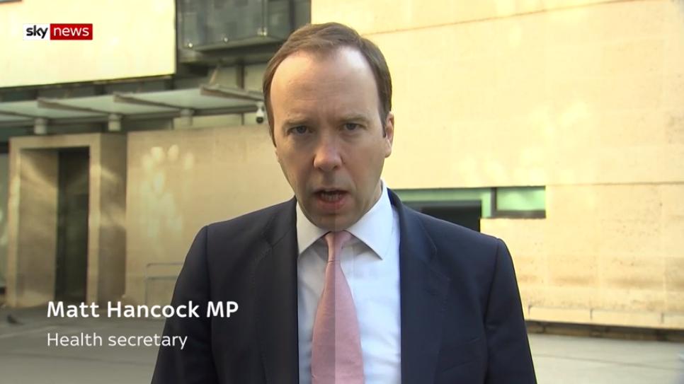 Matt Hancock on Sky News