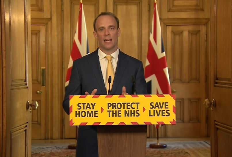 Dominic Raab. Coronavirus: Boris Johnson sees 'fever ease' in intensive care amid hopes he is over worst of illness