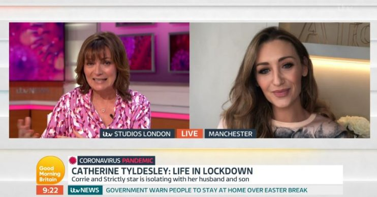 Catherine Tyldesley and Lorraine on Good Morning Britain