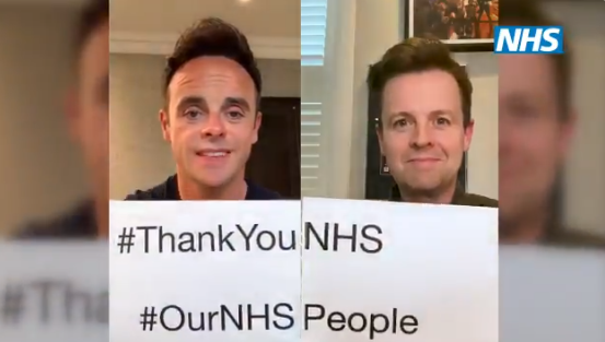 Ant and Dec thank NHS