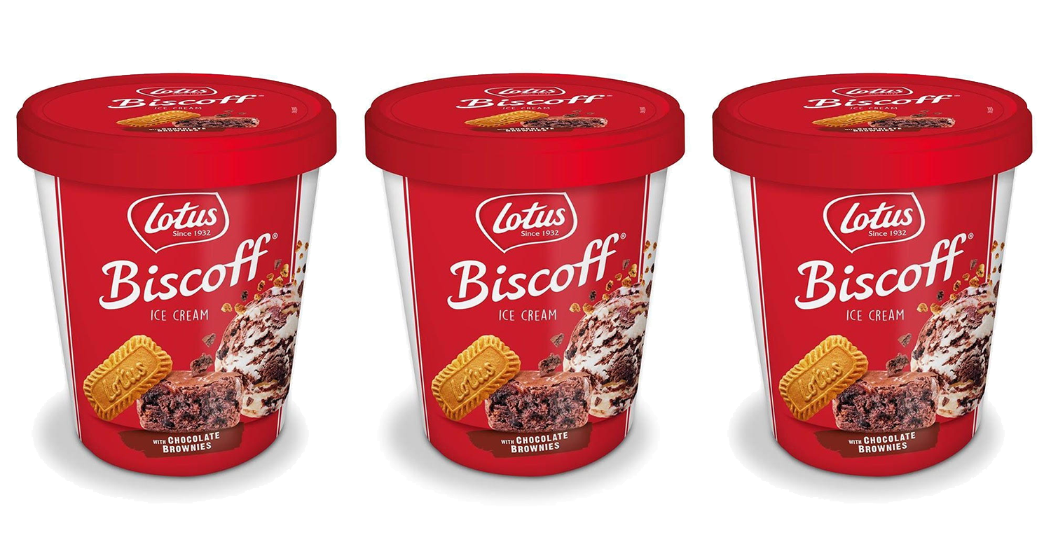Biscoff fans have 'died and gone to heaven' as Lotus launches ice cream stuffed with chewy chocolate brownie pieces