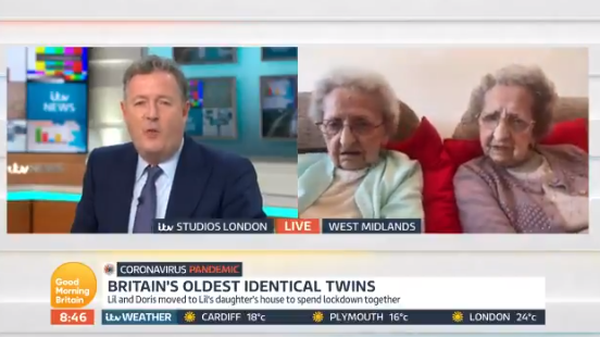 Piers Morgan and Britain's oldest twins on GMB