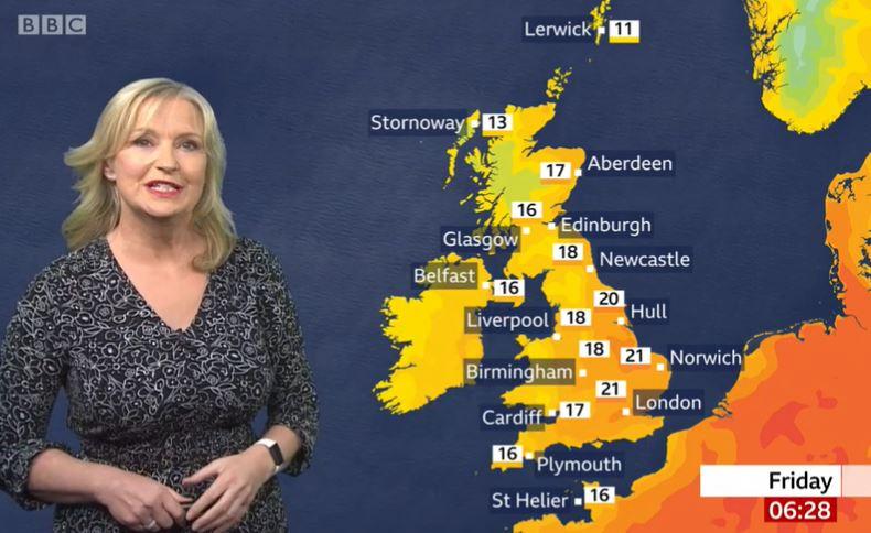 Carol Kirkwood, on BBC Breakfast, was knocked off her bike