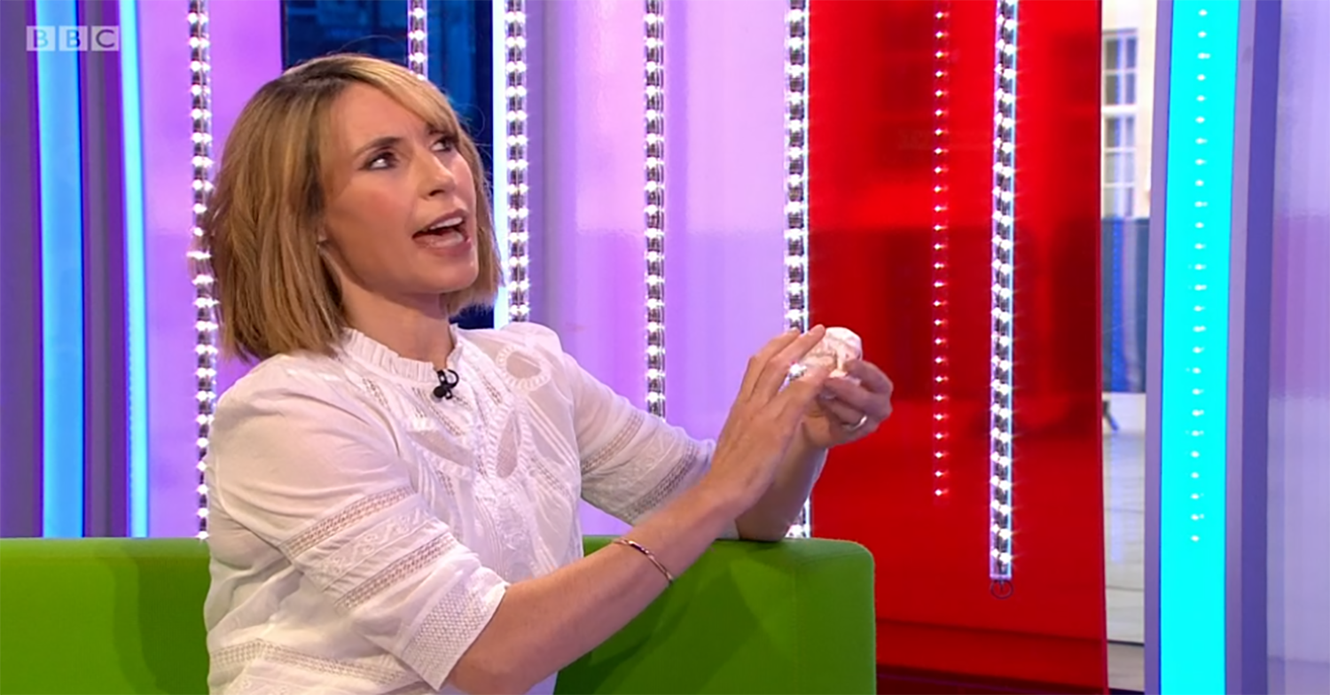 Alex Jones 'gets blood everywhere' after cutting her finger on The One Show