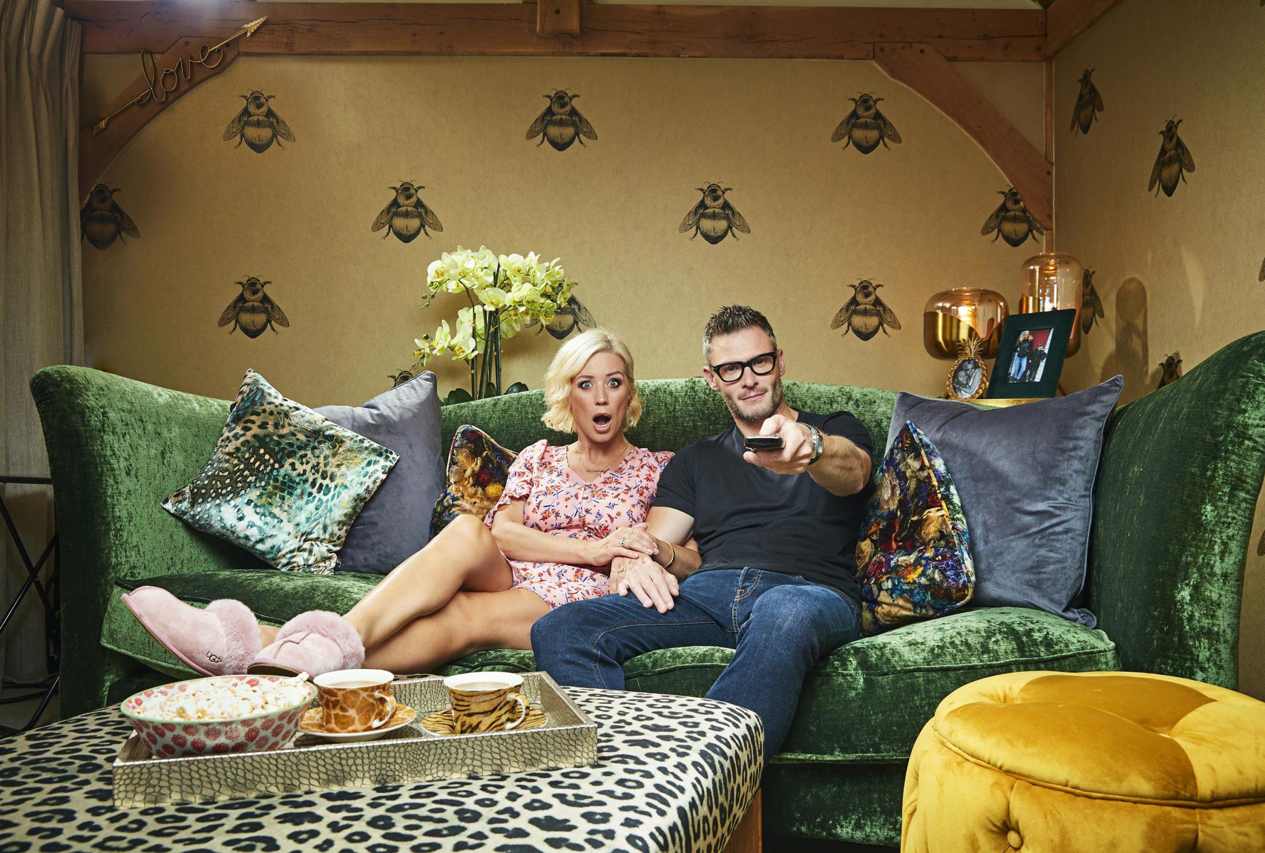 Denise Van Outen and partner Eddie on Gogglebox