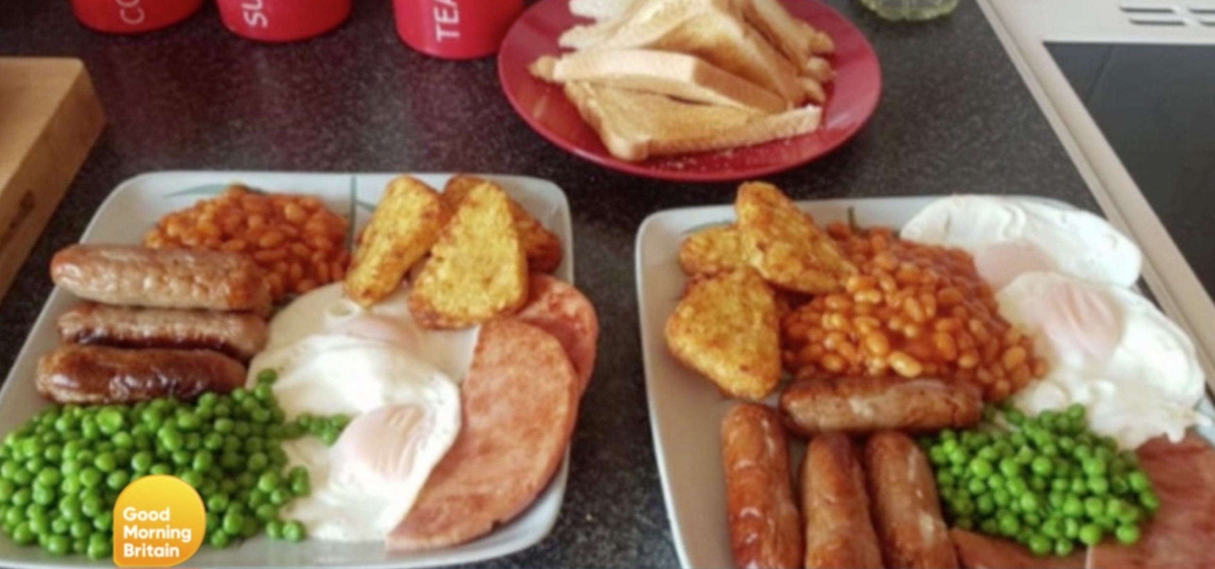 Brits urge woman to 'seek help' after she shares picture of her full English breakfast with PEAS