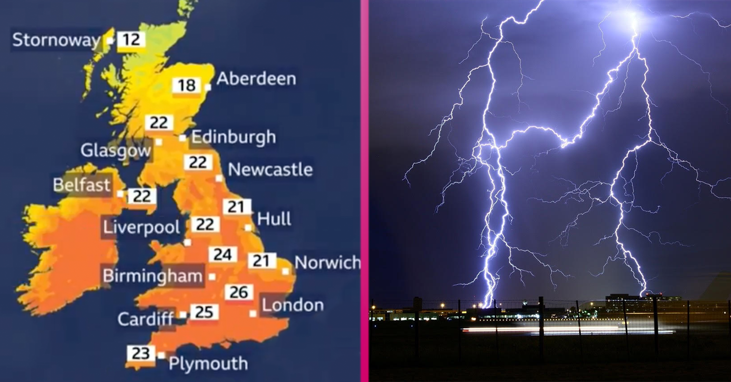 UK weather: Brits to enjoy sizzling highs of 28˚C today but thunderstorms are on the way