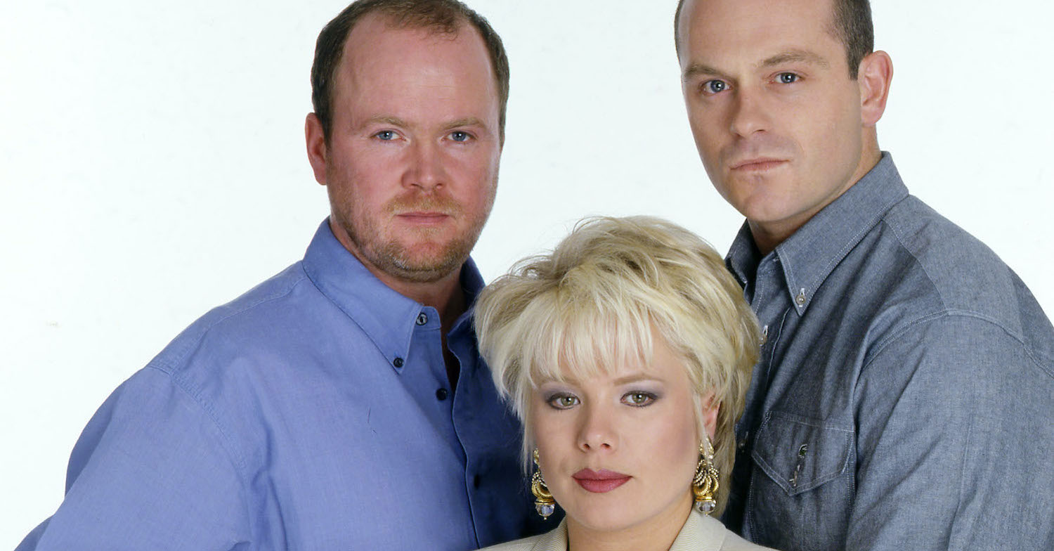 Ross Kemp as Grant Mitchell with his TV fam Steve McFadden as Phil and Barbara Windsor as Peggy (Credit: BBC)