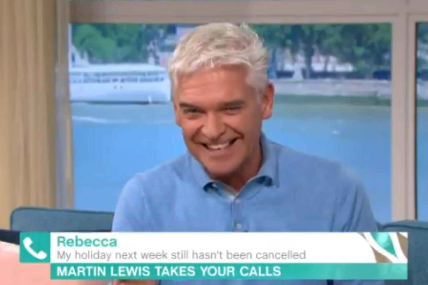 Phillip and Holly get the giggles over slip of the tongue during serious This Morning debate