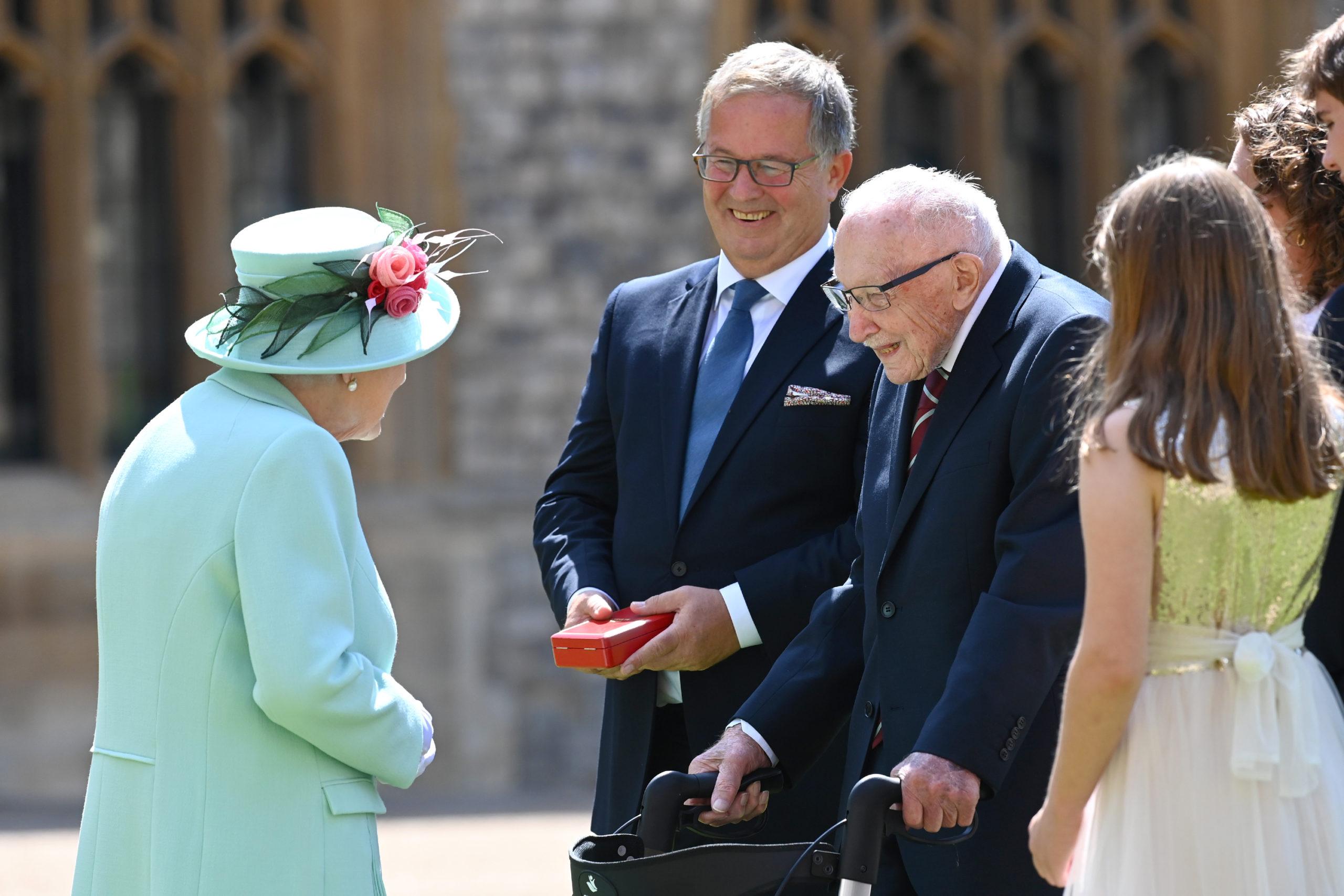Sir Tom Moore receiving his knighthood