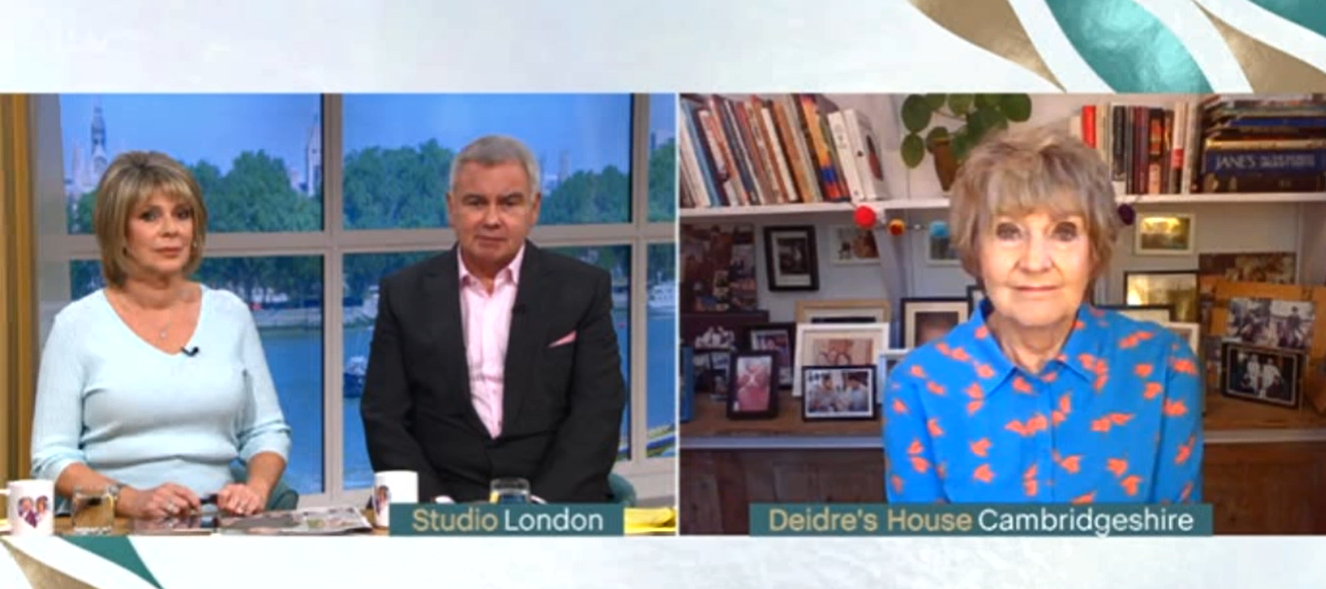 Deirdre's eyeshadow and blouse caused a stir on This Morning (Credit: ITV)