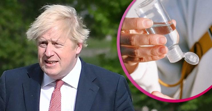 Boris Johnson and hand sanitizer