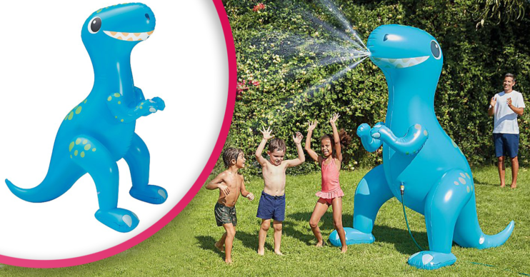 Asda's huge inflatable dinosaur sprinkler