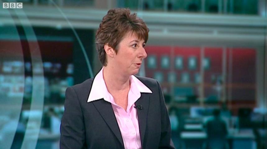 Caroline Goode appears on BBC News