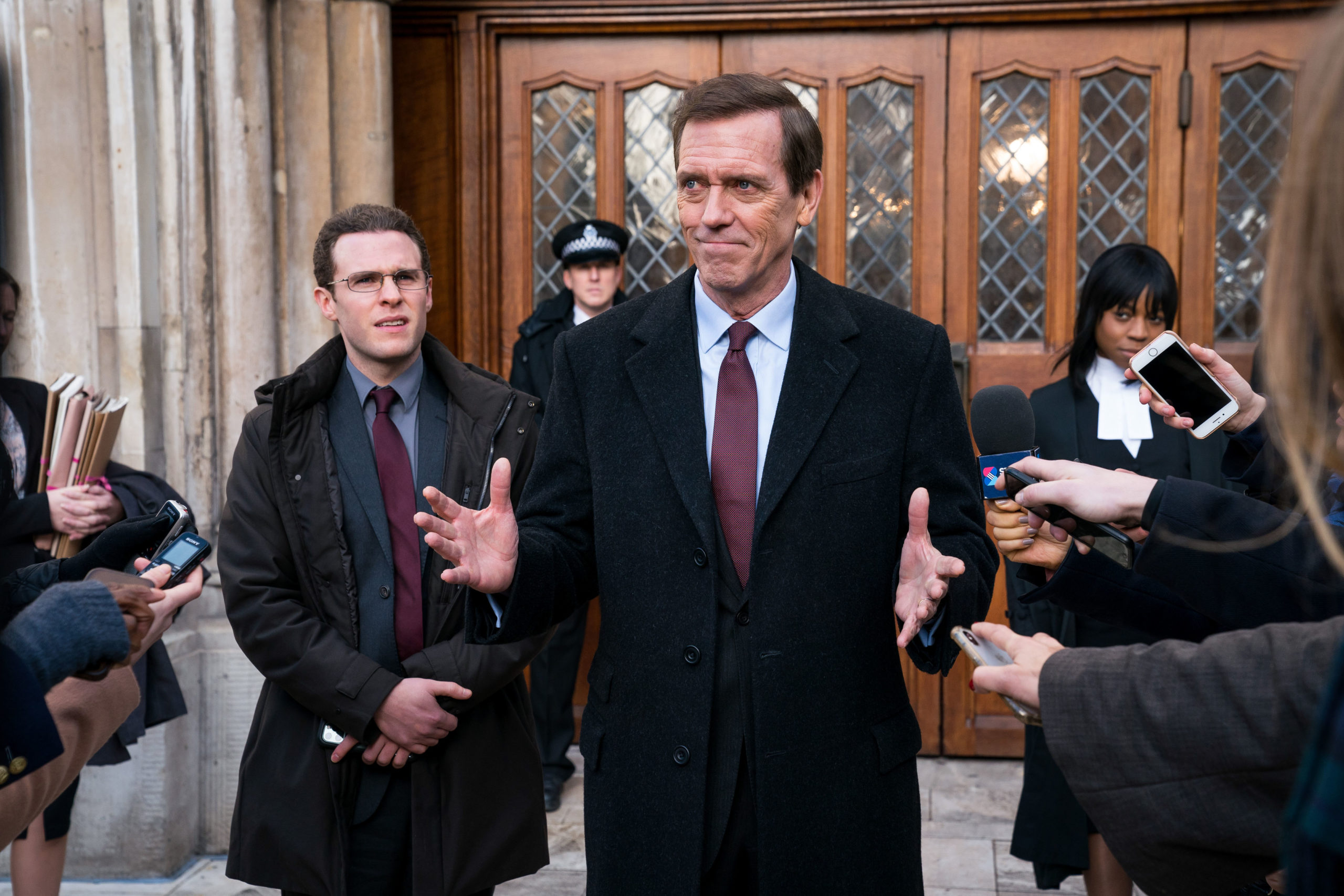 Hugh Laurie stars as Peter Laurence in Roadkill on BBC One
