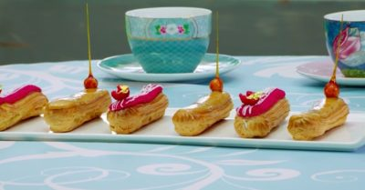 raspberry and salted caramel eclairs