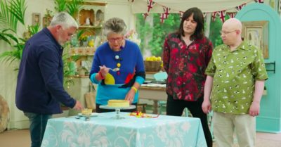 Great British Bake Off judges and hosts eating cake