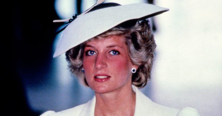 Princess Diana in white hat