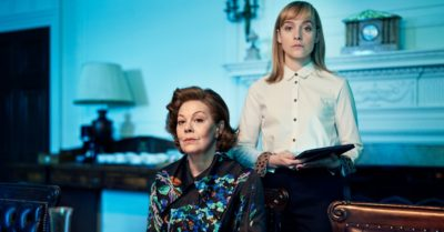 Helen McCrory and Olivia Vinall in character in BBC One drama Roadkill