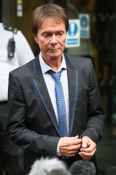 Cliff Richard looks emotional after winning court case against the BBC