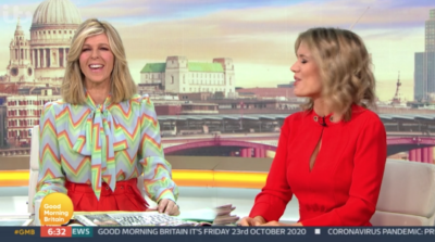 Kate Garraway smiles on GMB as she asks Alex to take his top off