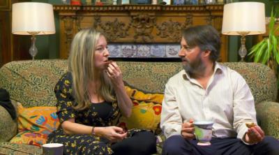 David Mitchell and wife Victoria on Gogglebox