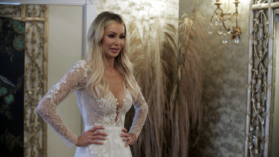 Olivia Attwood trying on a wedding dress