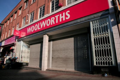 Woolworths store that has closed down with shutters