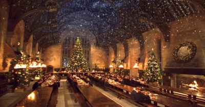 Christmas in the Hogwarts Great Hall (Credit: Warner Bros.)