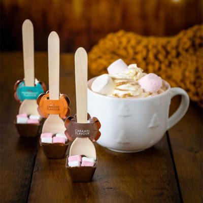 Home Bargains hot chocolate stirrers next to a mug