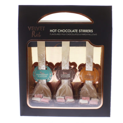 Box of hot chocolate stirrers from Home Bargains