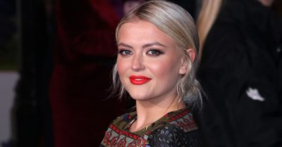 Lucy Fallon in red lipstick