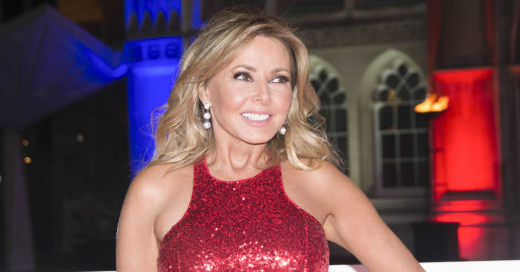 carol vorderman in red dress