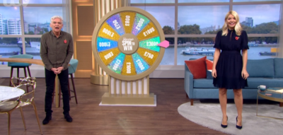 Phillip Schofield and Holly Willoughby during the Spin To Win segment on This Morning