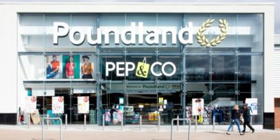 Poundland store from the outside with doors open