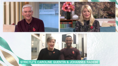 Caroline Quentin and Johannes Radebe have their first row