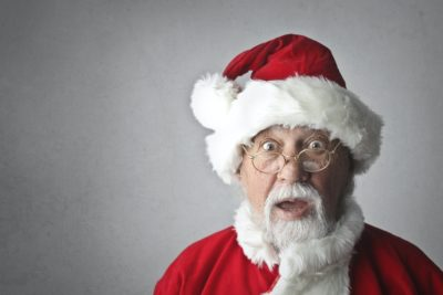 A shocked looking Santa